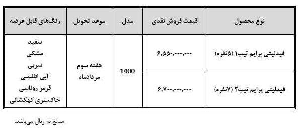 بخشنامه رسمی فروش خودرو فیدلیتی (زمان تحویل + رنگها)