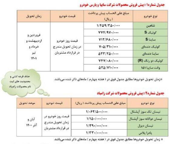 آغاز پیش فروش گسترده محصولات سایپا بمناسبت عید سعید قربان + شرایط