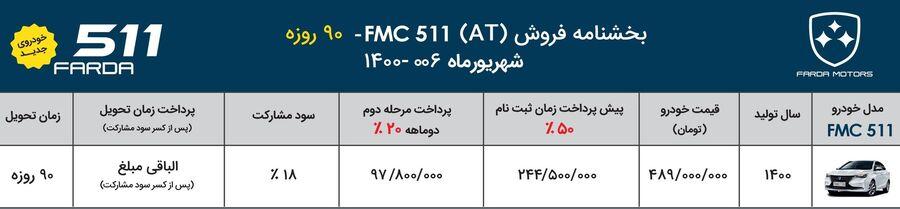 آغاز فروش خودروهای FMC 511 و FMC SX5 ویژه شهریور