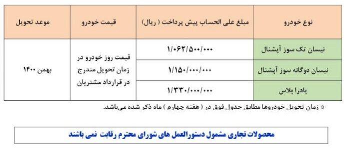طرح جدید پیش فروش وانت نیسان - شهریور 1400