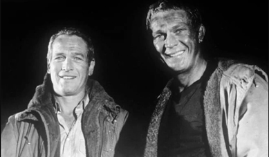 Paul Newman (left) and Steve McQueen during filming for The Towering Inferno in which they shared star billing