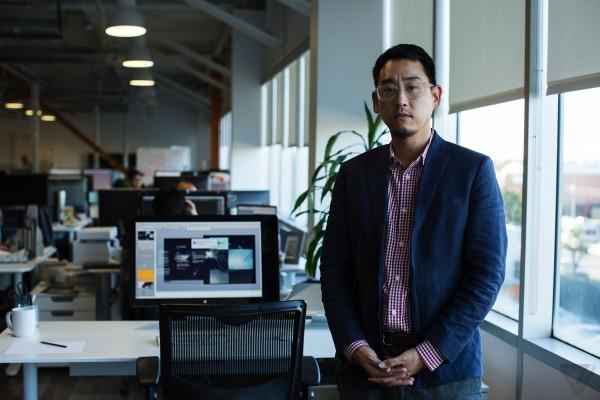 Faraday Future design chief Richard Kim stands inside the company's Gardena, California headquarters.